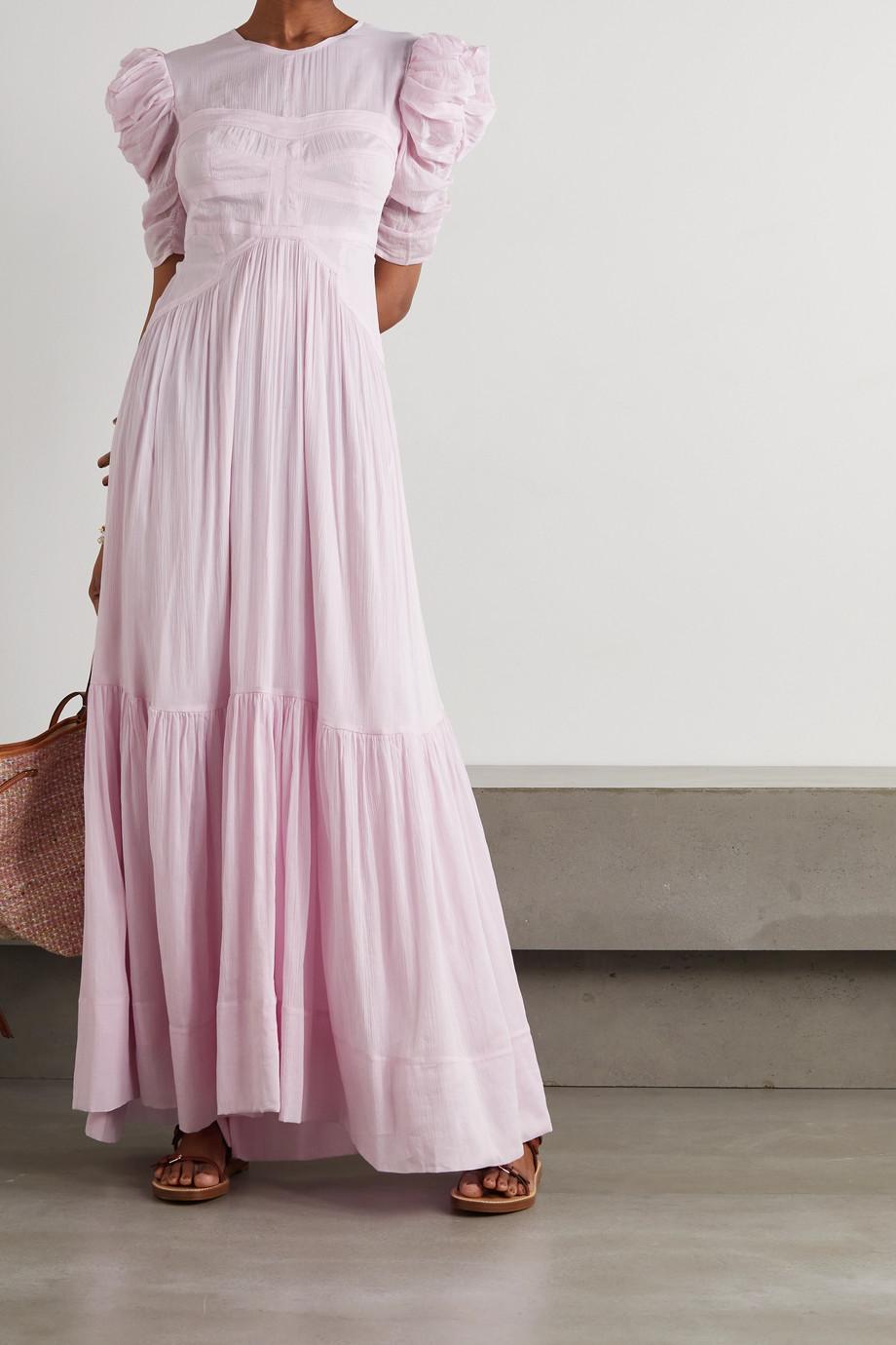 Isabel Marant Robe longue dos ouvert en crépon de coton et de soie mélangés Katici
