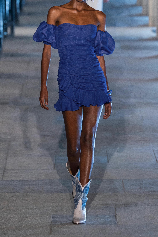 Isabel Marant Jasmine wandelbares, schulterfreies Minikleid aus Ramie mit Raffungen