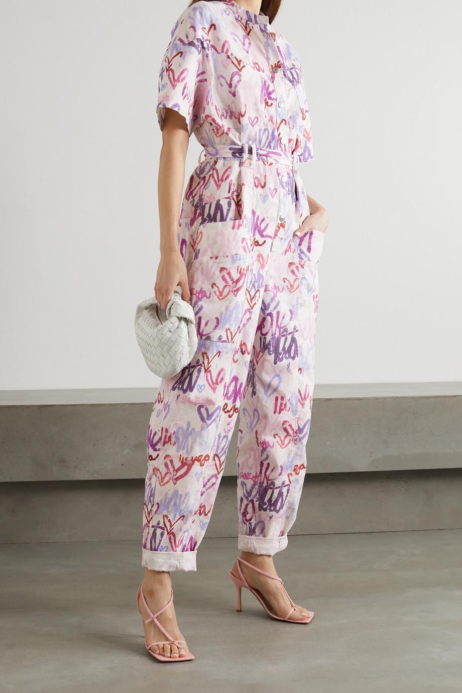 Isabel Marant Combi-pantalon en lin mélangé imprimé à ceinture Etundra