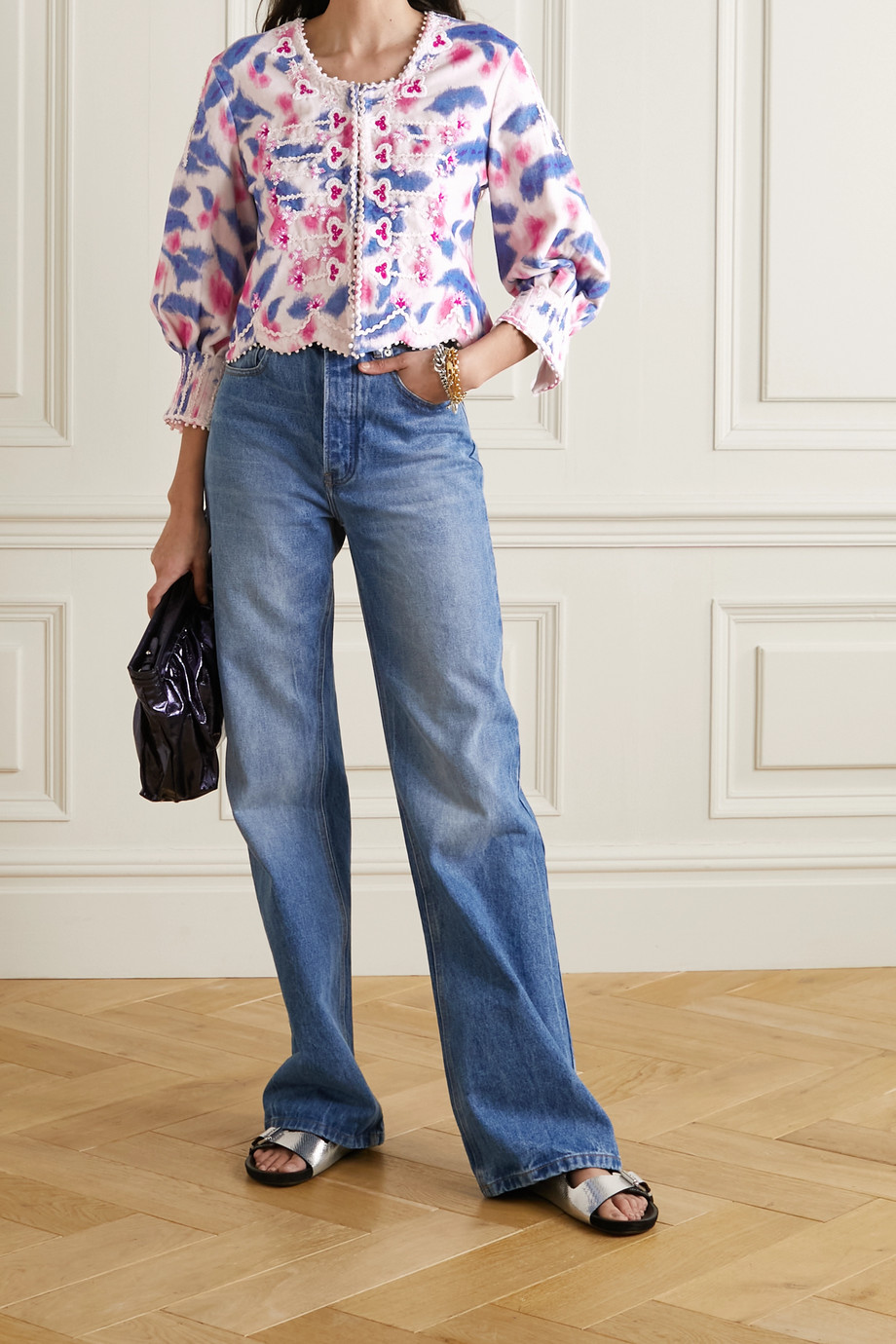 Isabel Marant Camity Bluse aus bedrucktem Baumwollsamt mit Stickereien und Verzierungen