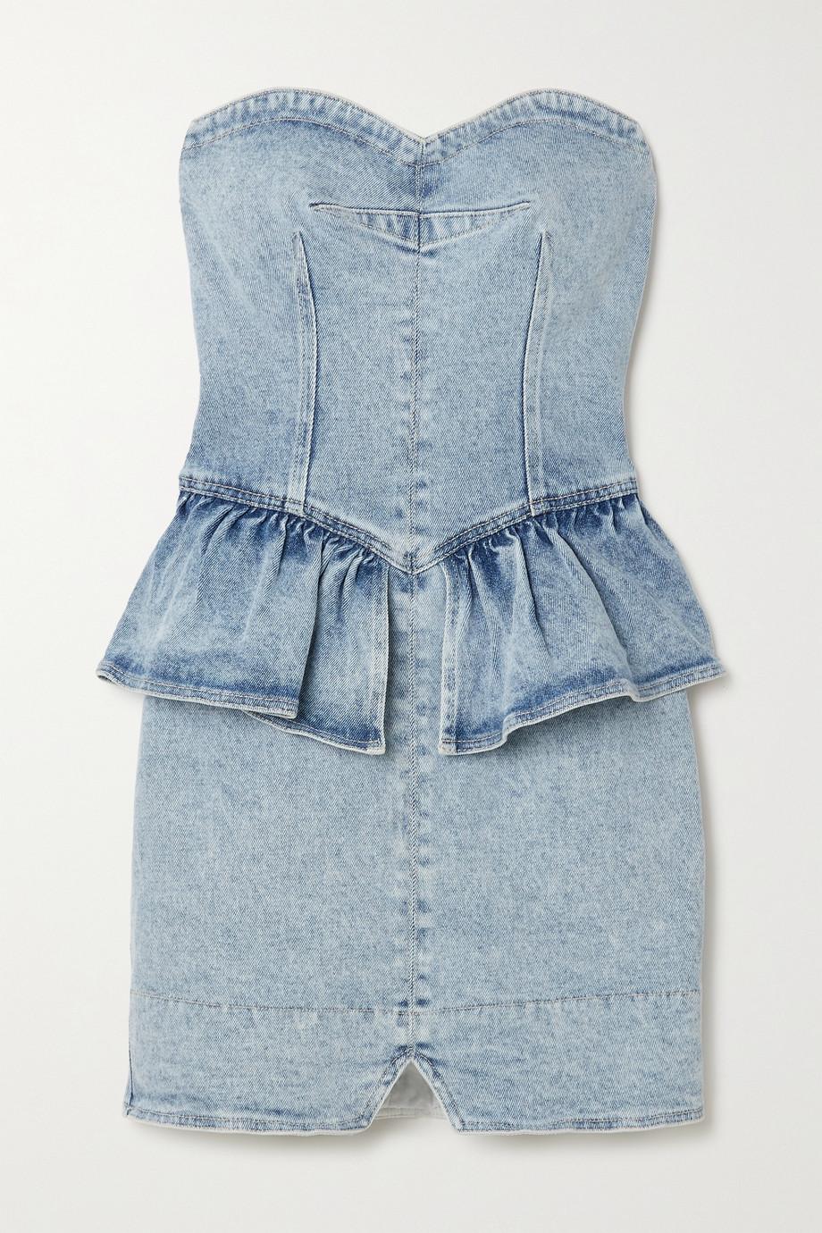 Isabel Marant Dolizi strapless denim peplum mini dress