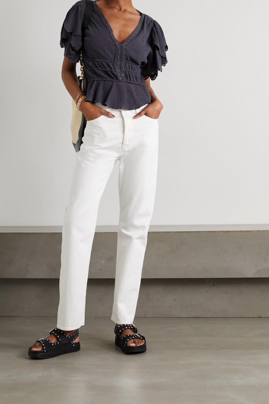 Isabel Marant Lemila ruffled embellished cotton and silk-blend crepon blouse