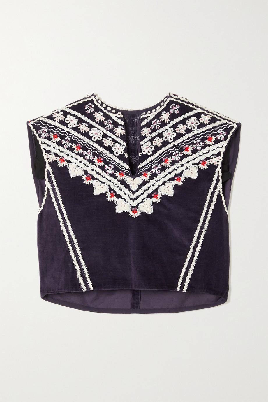 Isabel Marant Camena embellished embroidered velvet tank