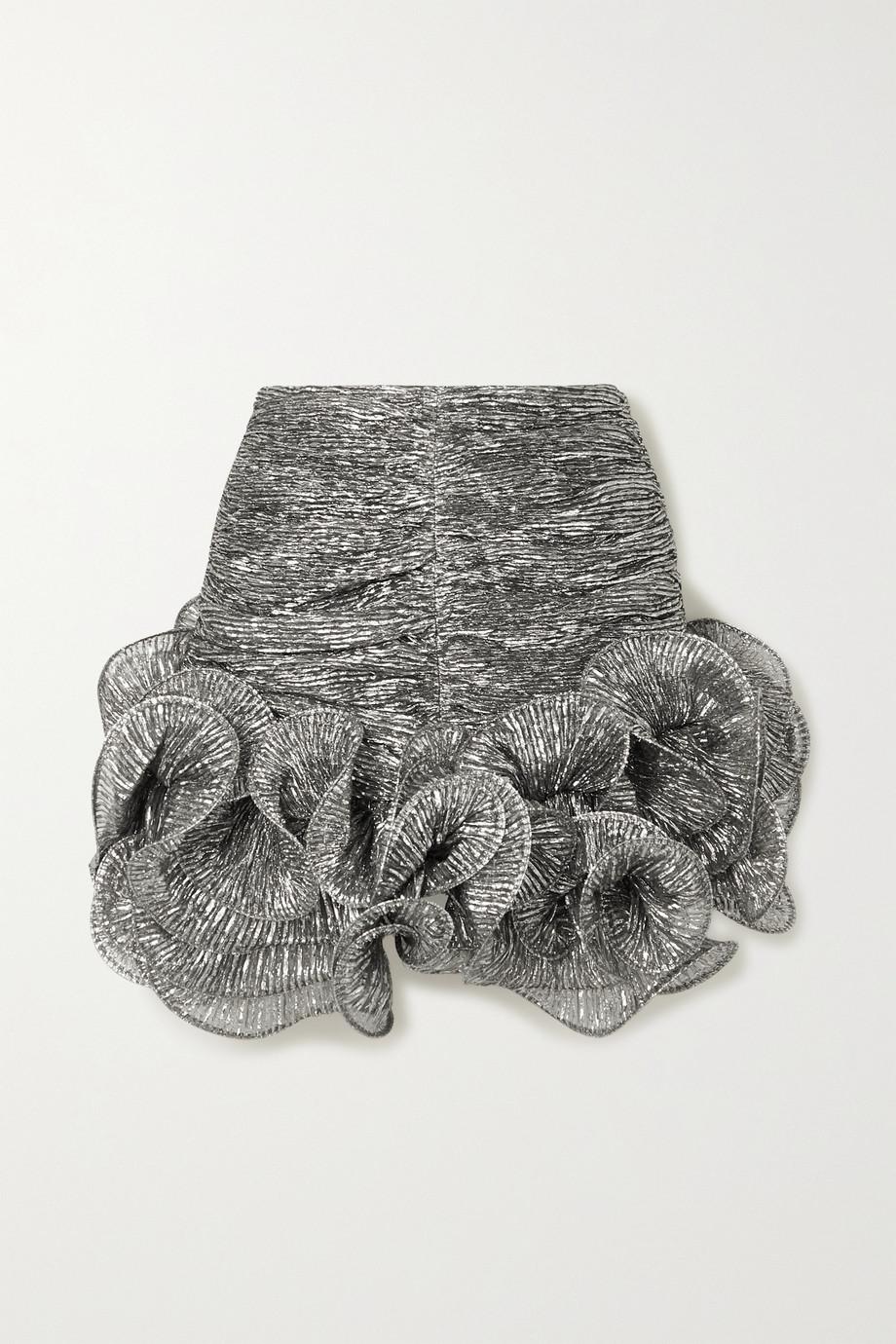 Isabel Marant Treva asymmetrischer Minirock aus plissiertem Lamé mit Rüschen