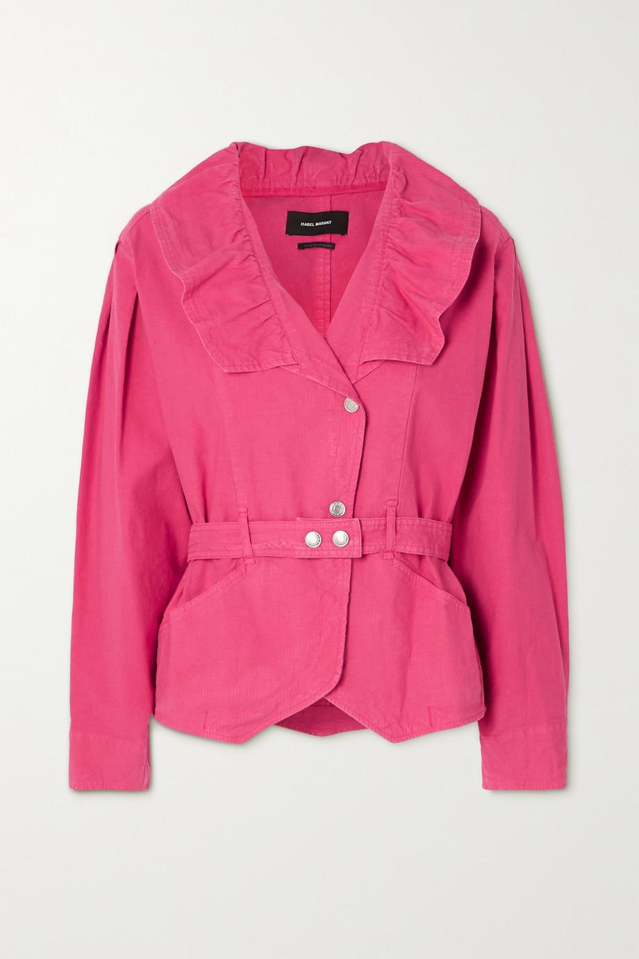 Isabel Marant Epaline belted ruffled linen-blend jacket