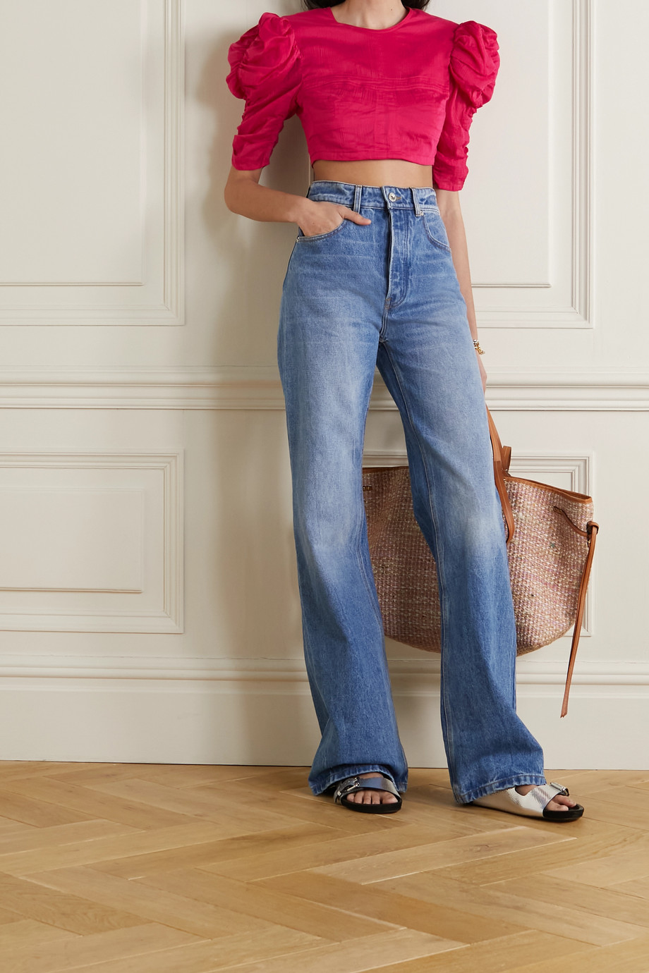 Isabel Marant Kobiaci cropped open-back cotton and silk-blend crepon blouse