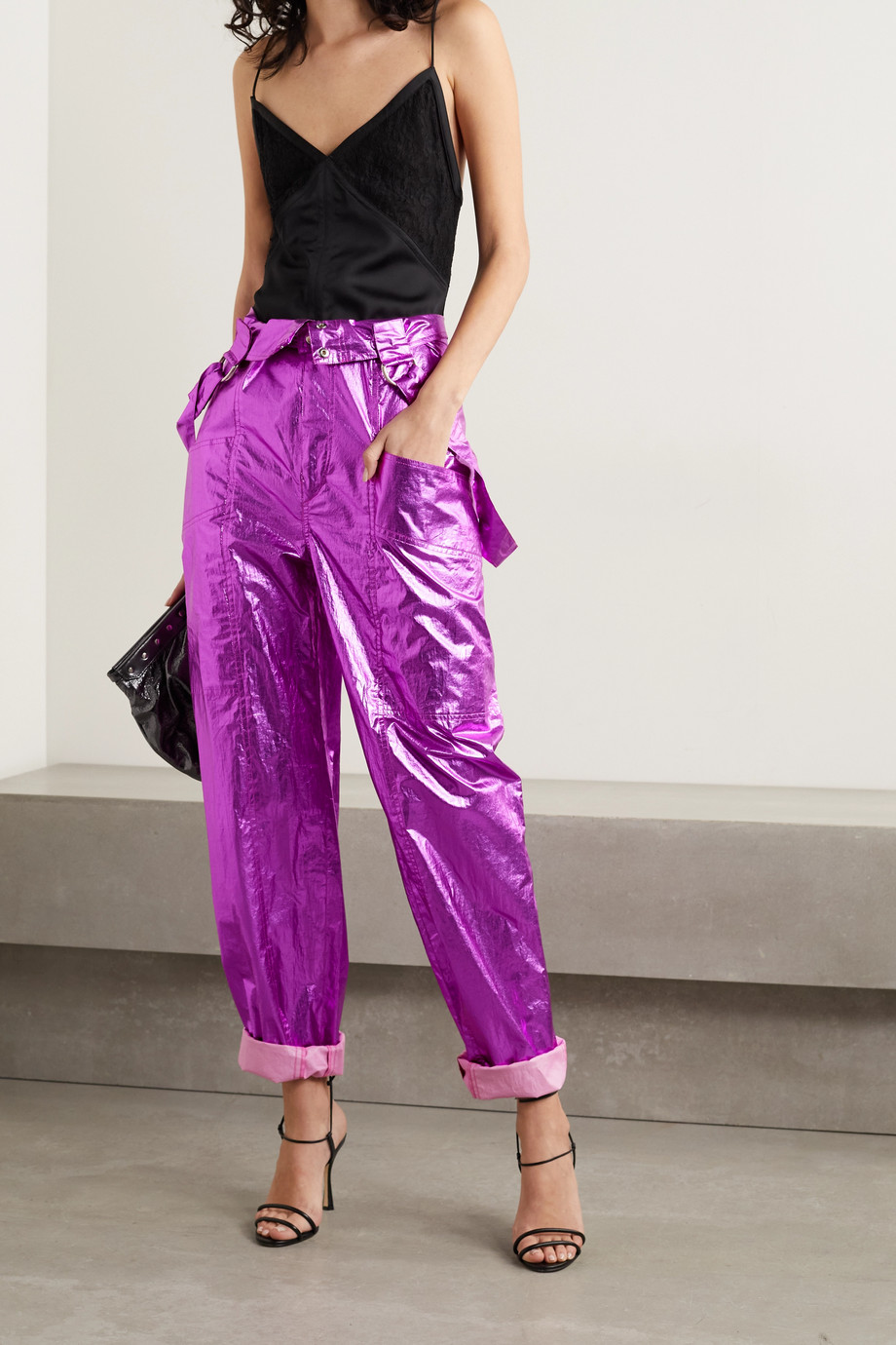 Isabel Marant Gilekla convertible metallic coated-cotton tapered pants