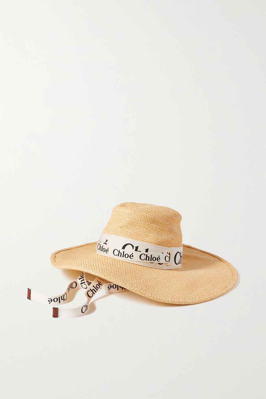 Chloé Woody Hut aus Raffiabast mit Canvas-Besatz