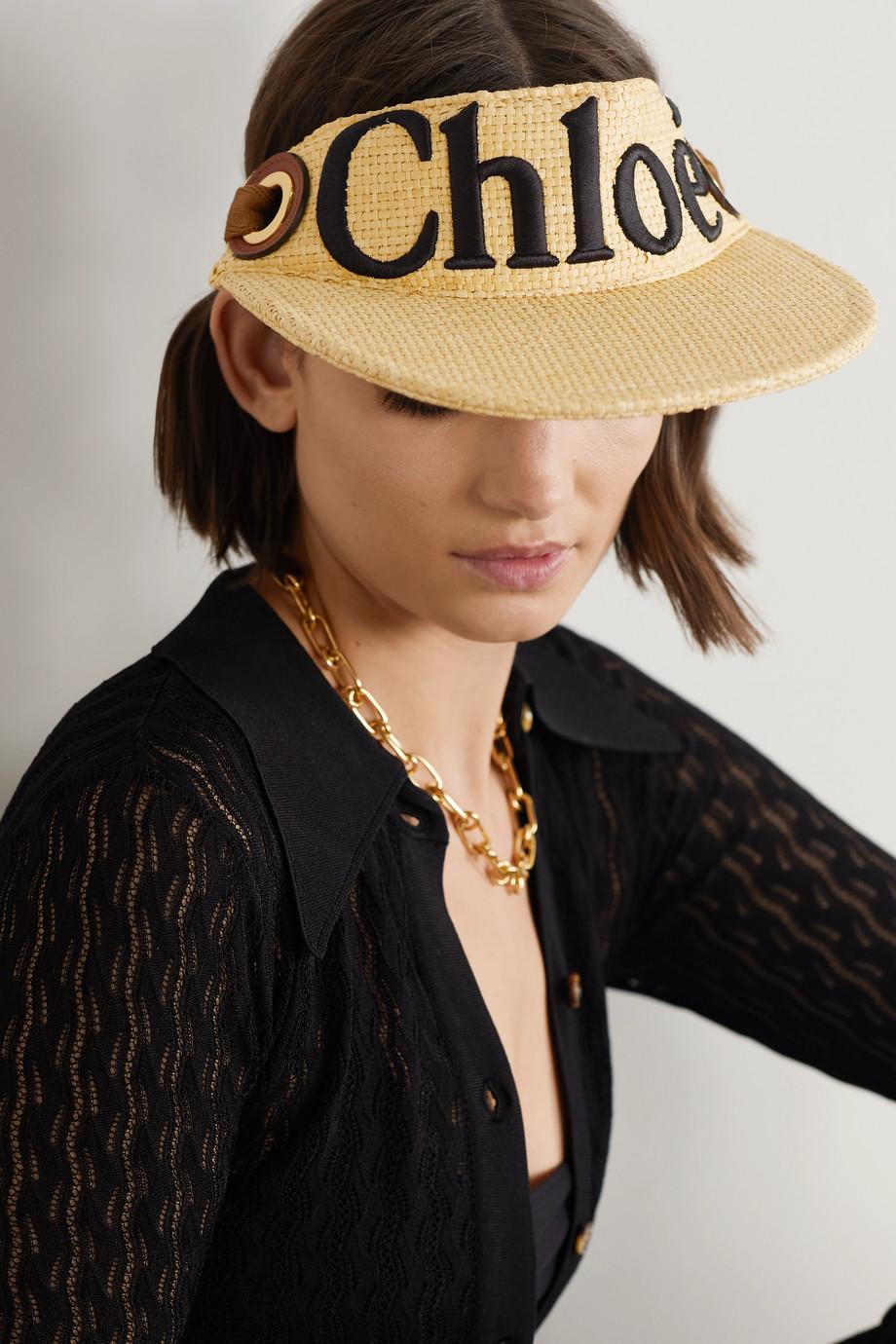 Chloé Woody Visor aus Raffiabast mit Lederbesatz und Stickerei