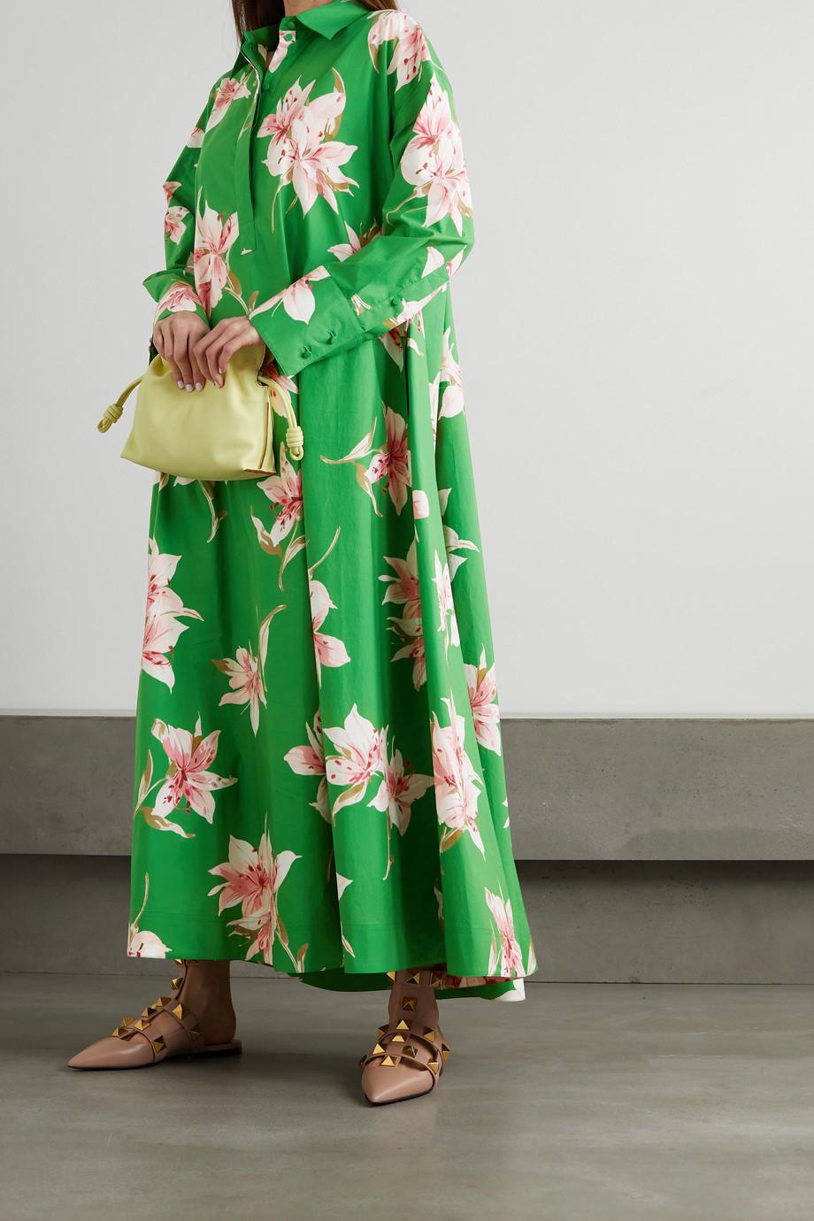 Valentino Robe-chemise longue en popeline de coton à imprimé fleuri