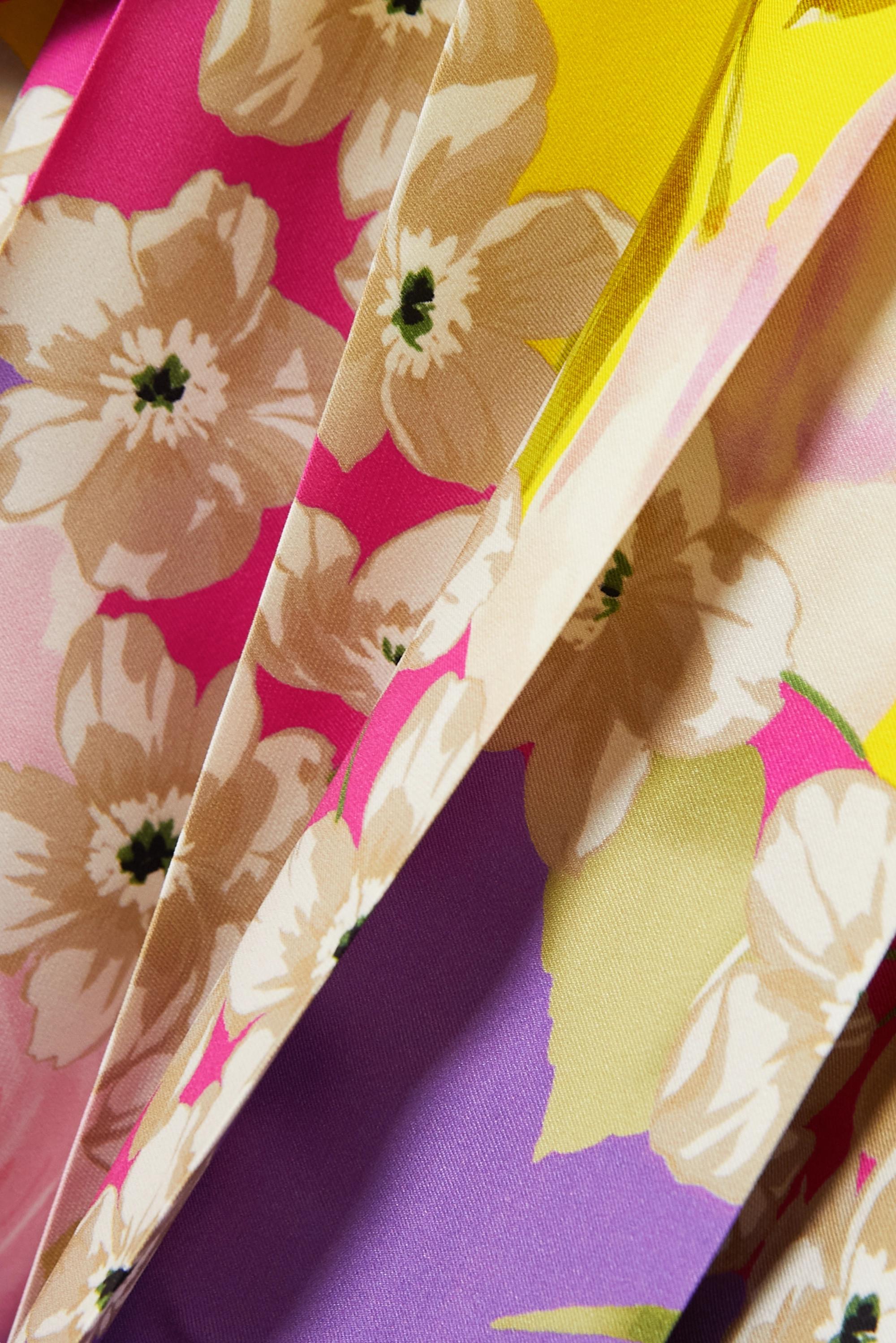 Valentino Midikleid aus Twill aus einer Seidenmischung mit Blumenprint und Falten