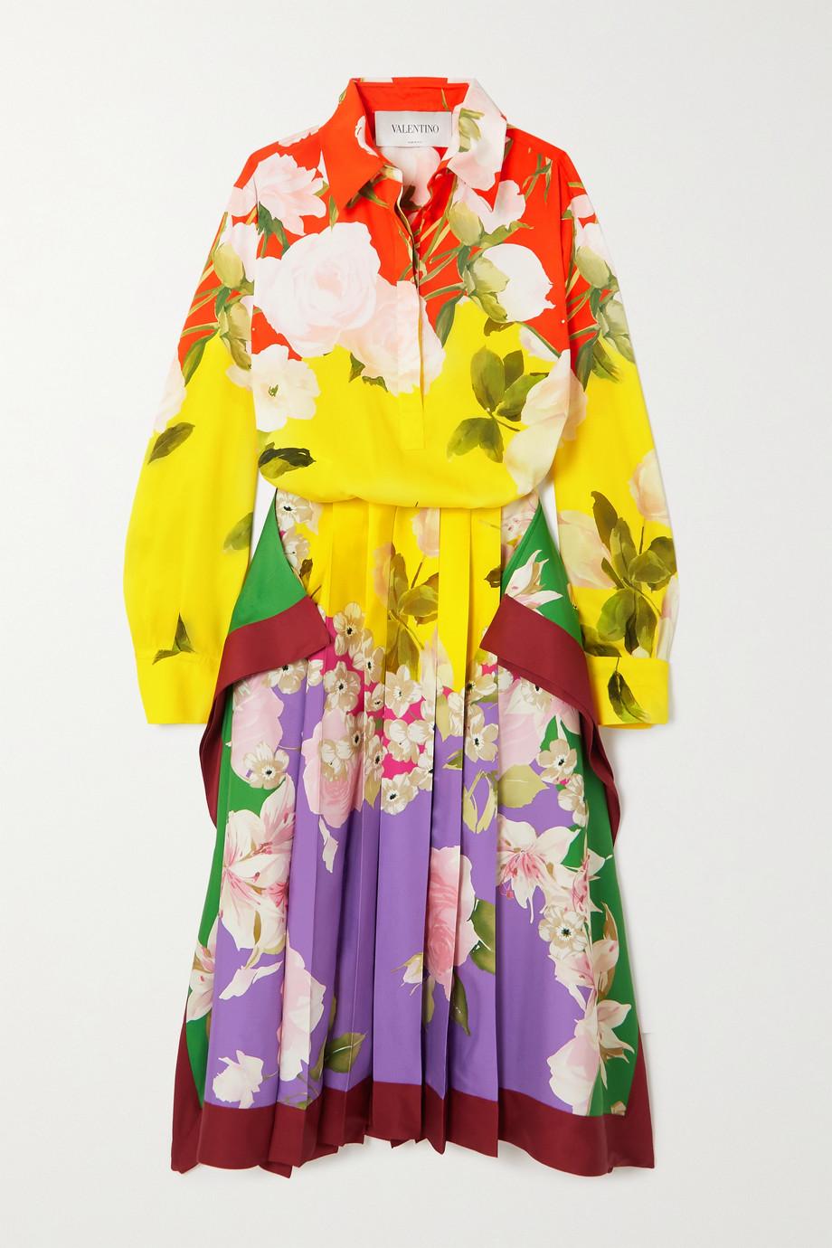Valentino Pleated floral-print silk-blend twill midi dress