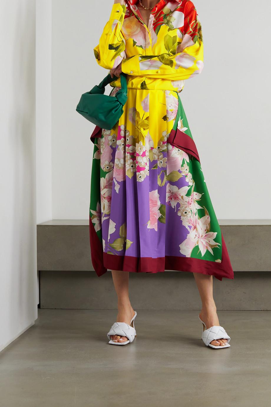 Valentino Robe midi en serge de soie mélangée à imprimé fleuri et à plis