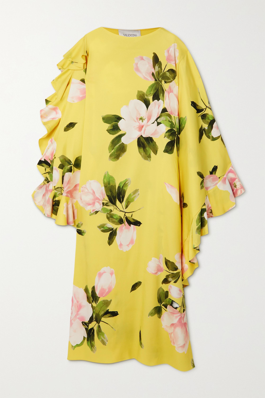 Valentino Asymmetric ruffled floral-print silk-blend gown