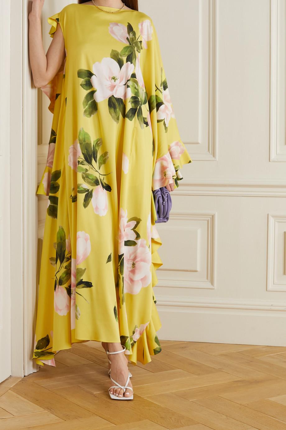 Valentino Asymmetrische Robe aus einer Seidenmischung mit Blumenprint und Volants