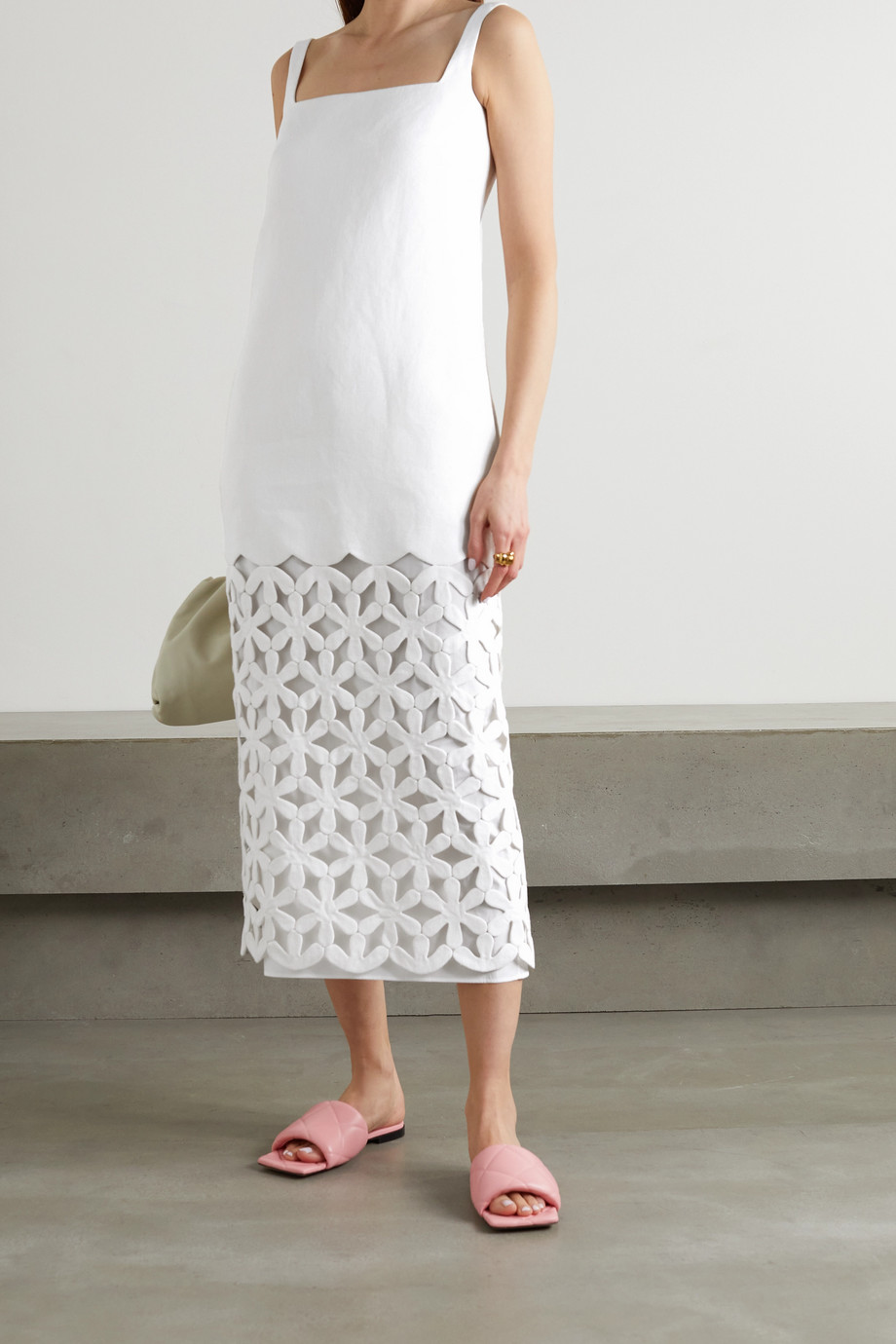 Valentino Cutout hemp midi dress