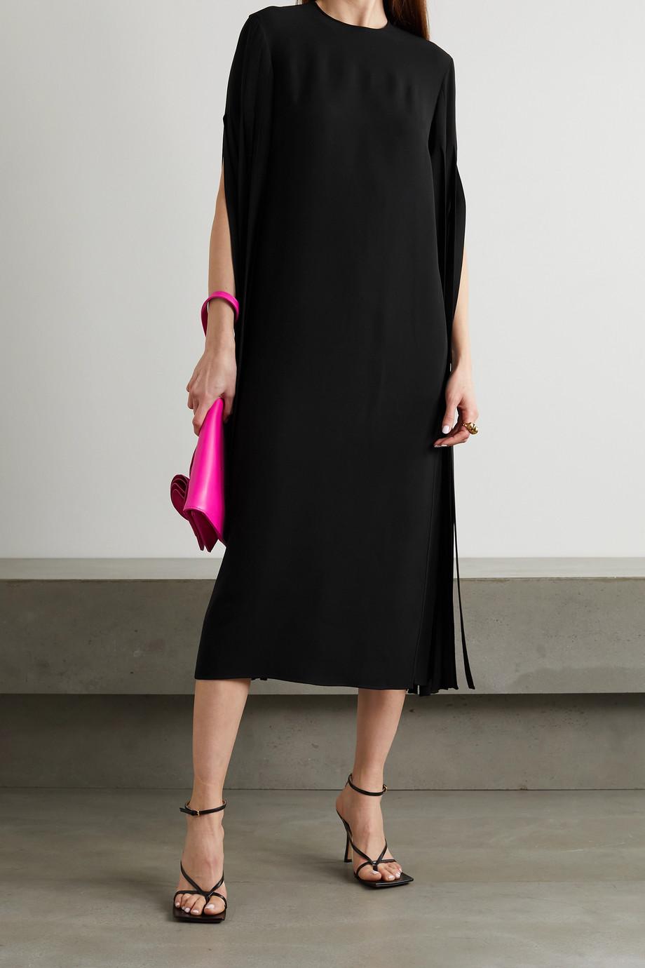 Valentino Tasseled silk-cady midi dress