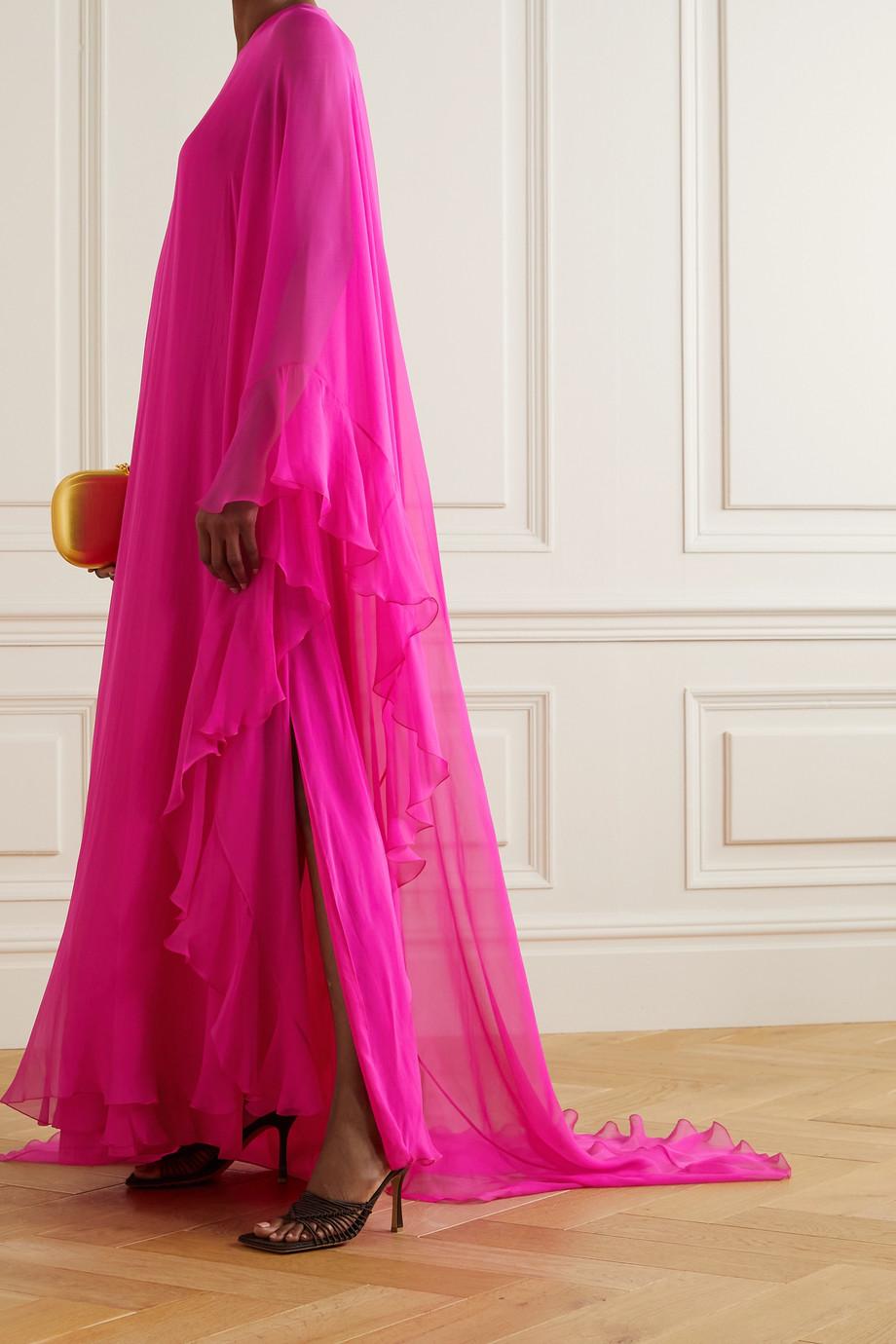 Valentino Robe aus Seidenchiffon mit asymmetrischer Schulterpartie