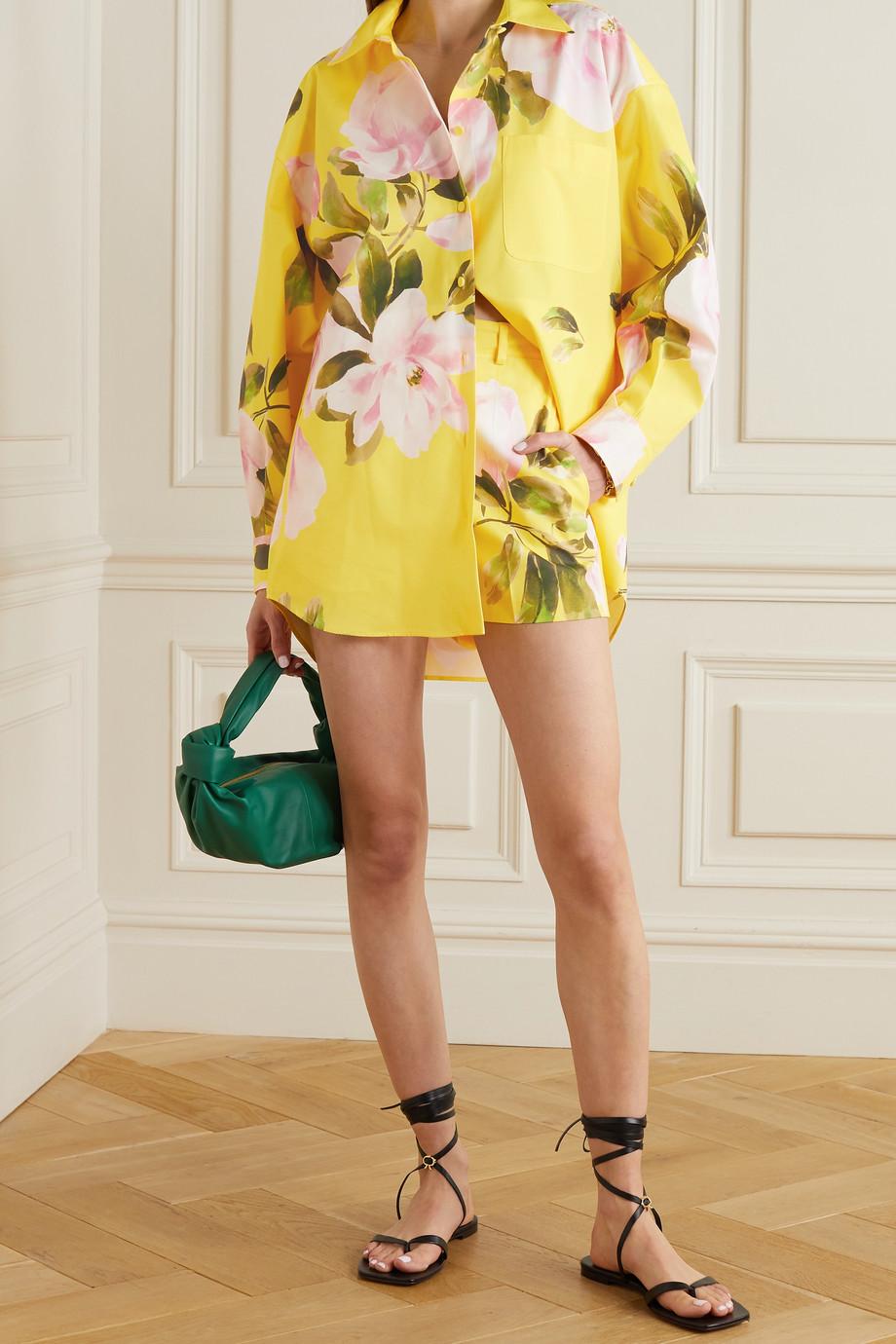 Valentino Surchemise en coton et soie mélangés à imprimé fleuri