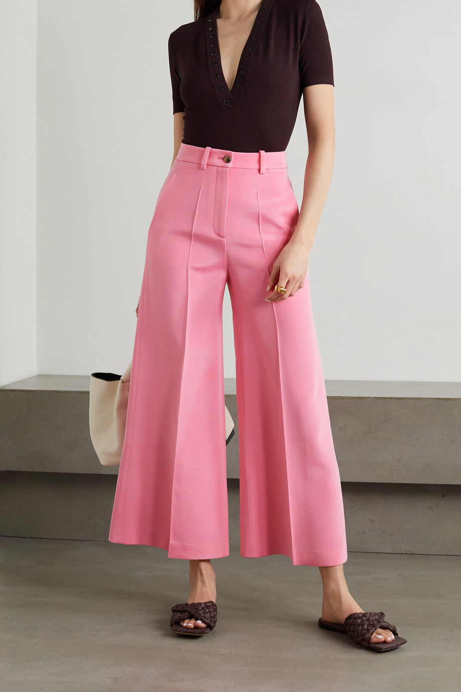Valentino Cropped woven wide-leg pants