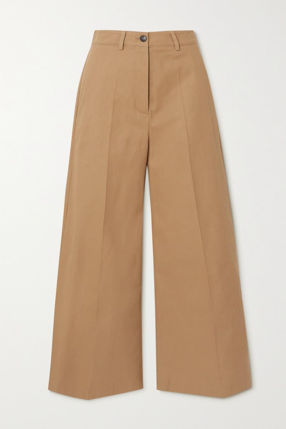 Valentino Pantalon large en gabardine de coton à plis