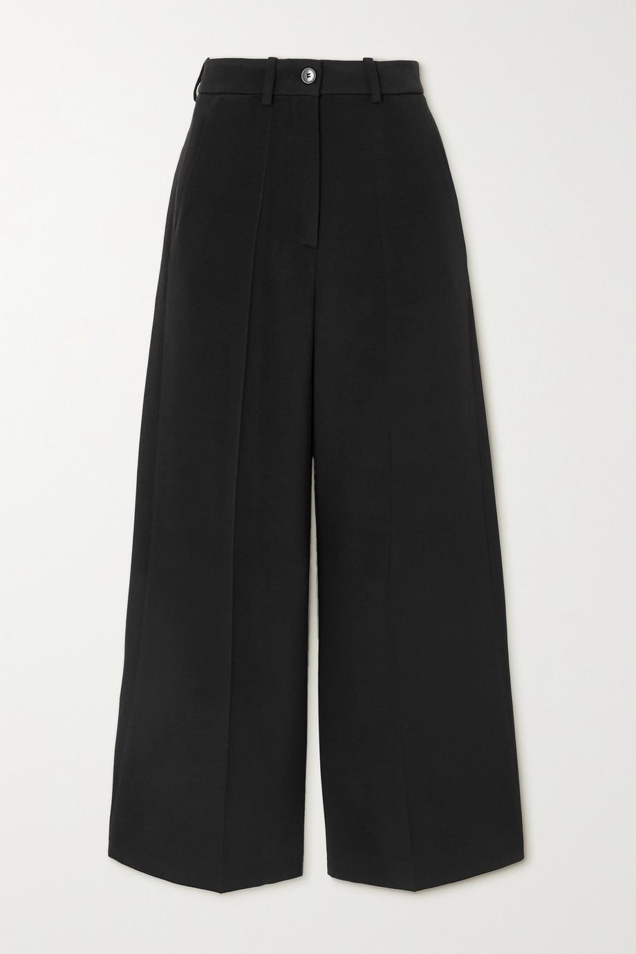 Valentino Pantalon large raccourci en laine mélangée