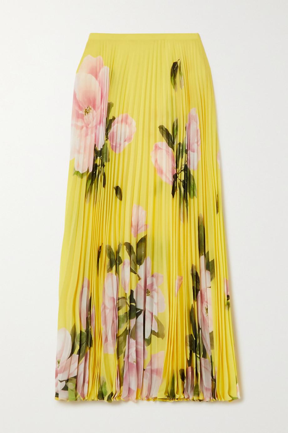 Valentino Midirock aus Seiden-Crêpe mit Blumenprint und Plissee