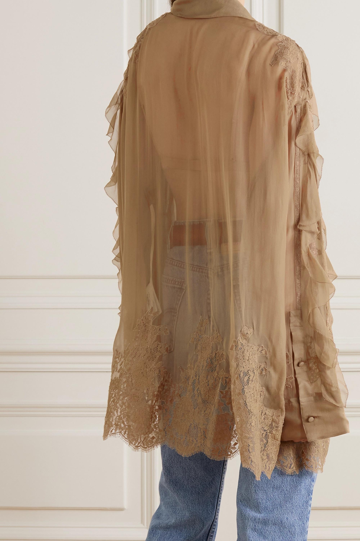 Valentino Blouse en mousseline de soie à finitions en dentelle et à volants