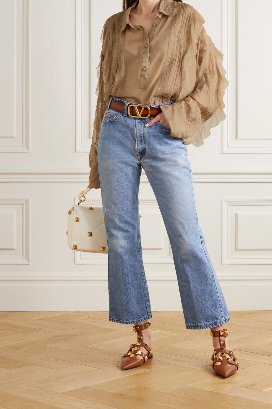 Valentino Ruffled lace-trimmed silk-chiffon blouse