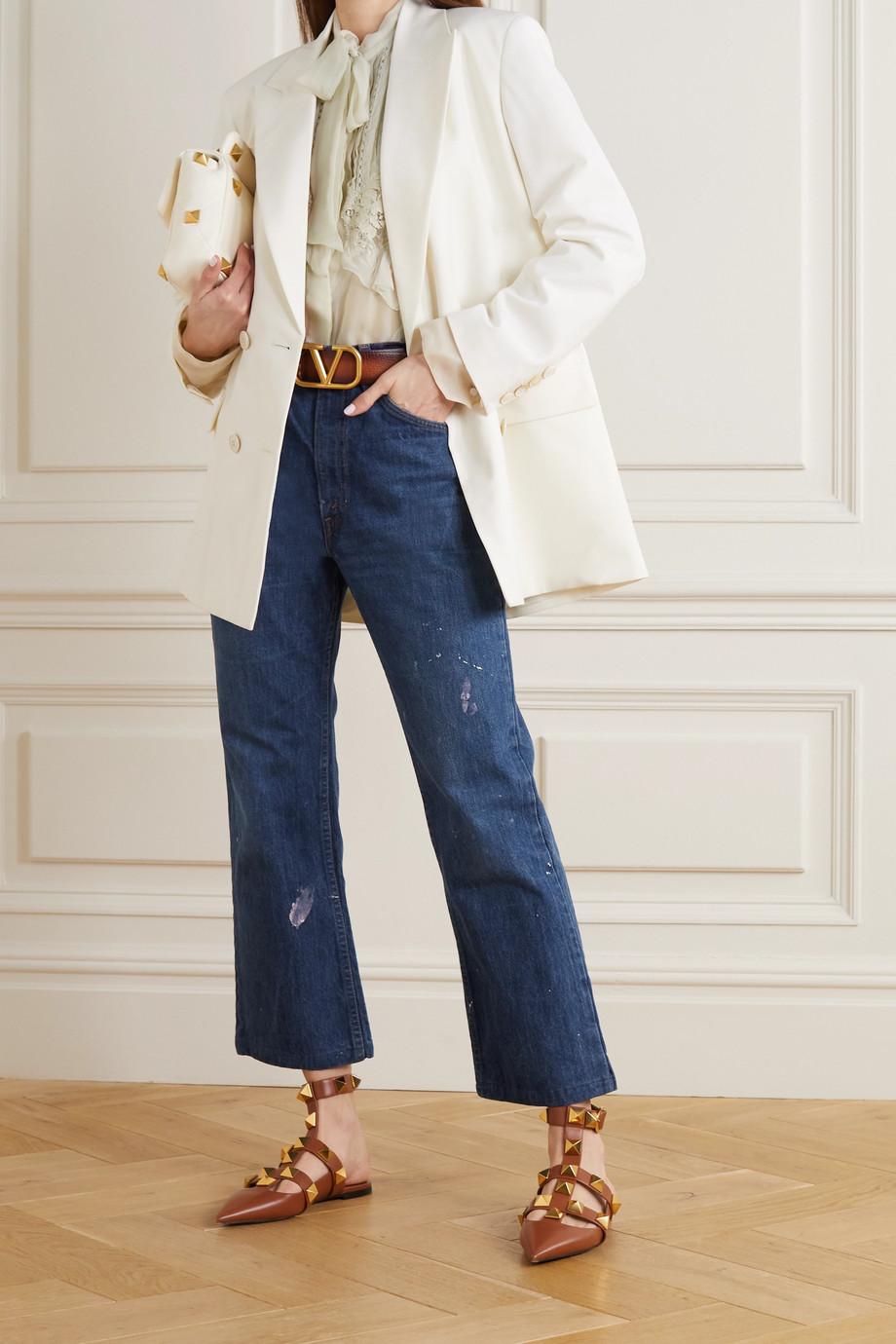 Valentino Bluse aus Seidenchiffon mit Spitzenbesätzen und Rüschen