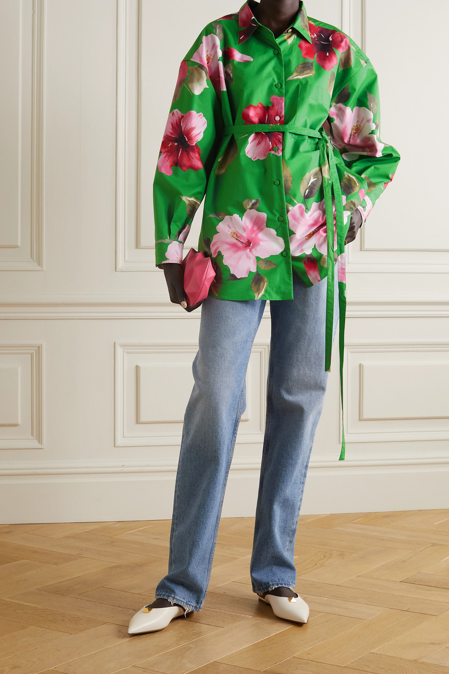 Valentino Chemise oversize en popeline de coton à ceinture