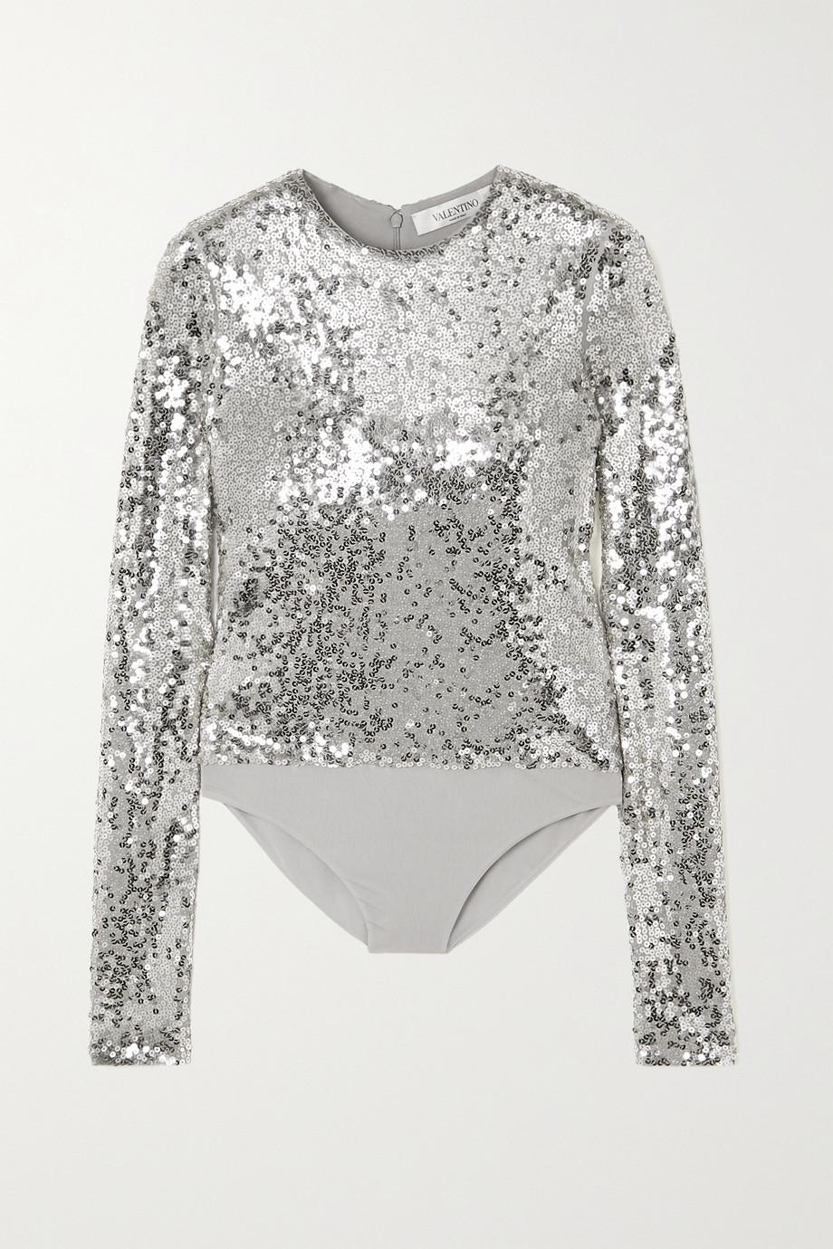 Valentino Body aus Jersey mit Pailletten