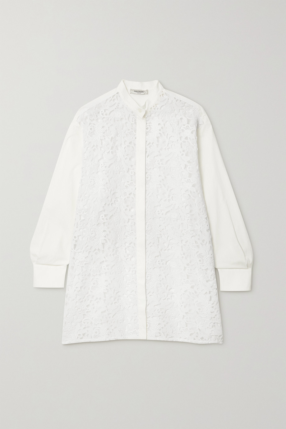 Valentino Lace and cotton-blend shirt