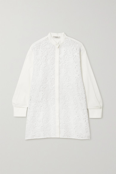 Valentino Lace And Cotton-blend Shirt In White