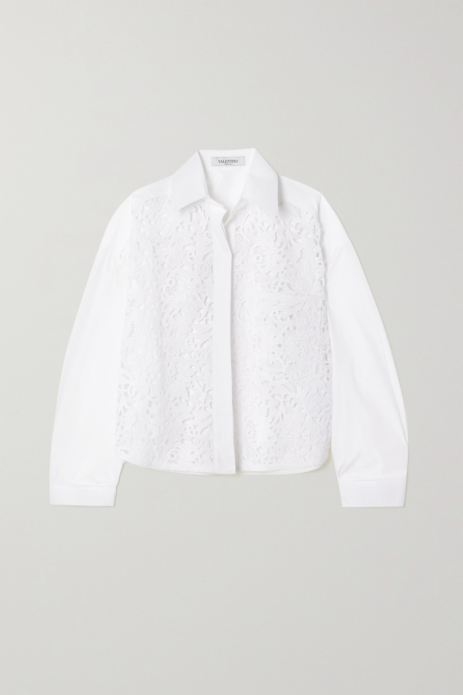 Valentino Cotton-blend poplin and guipure lace shirt