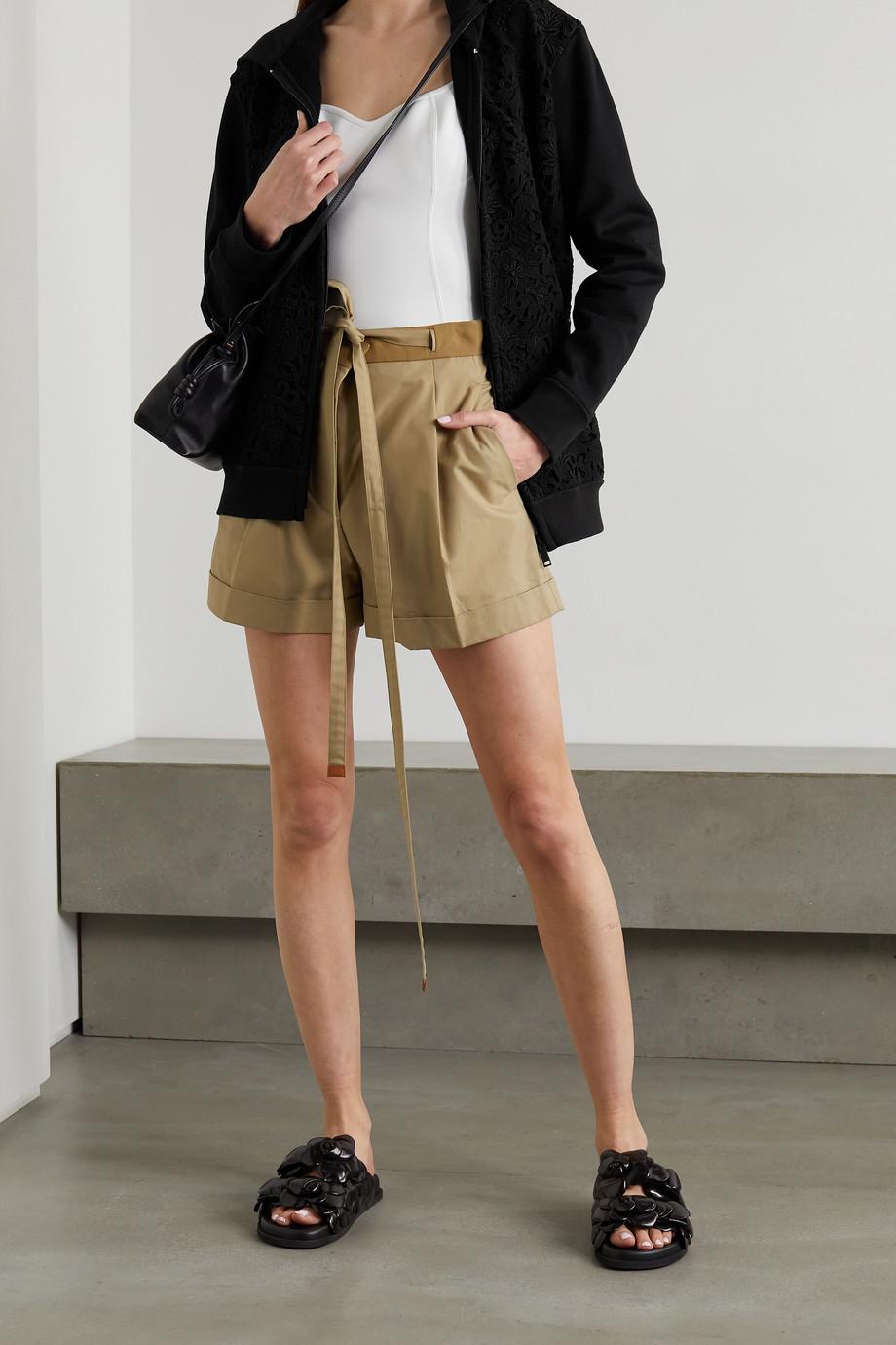 Valentino Kapuzenjacke aus schnurgebundener Spitze und Jersey aus einer Baumwollmischung