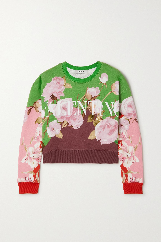 Valentino Sweat raccourci en jersey de coton mélangé à imprimé fleuri