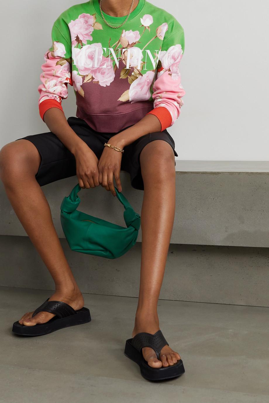 Valentino Cropped floral-print cotton-blend jersey sweatshirt