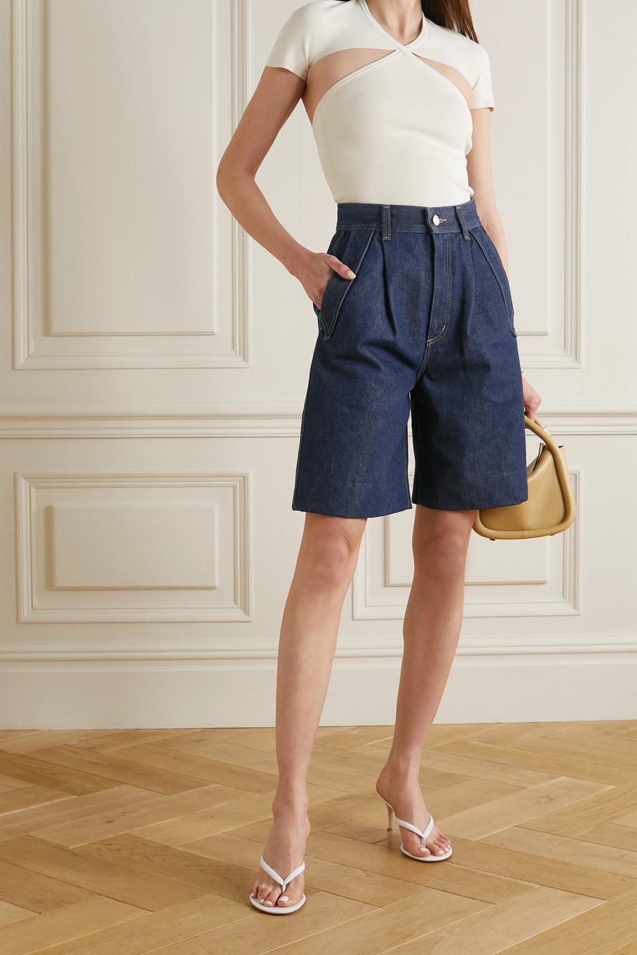 GOLDSIGN Pieced Pocket Jeansshorts mit Falten