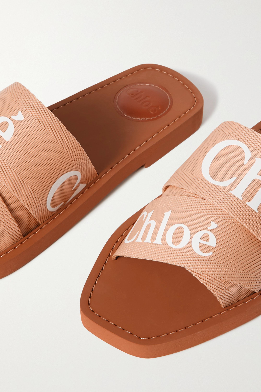 Chloé Woody logo-print canvas slides