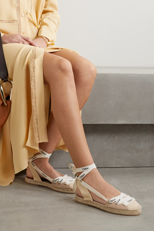 Chloé Espadrilles en toile et en cuir à logo Ingrid