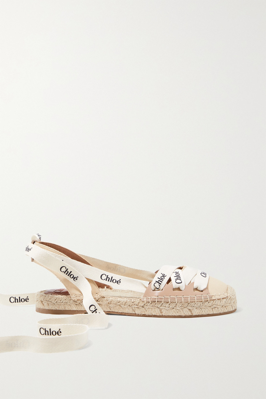 Chloé Ingrid logo-print canvas and leather espadrilles