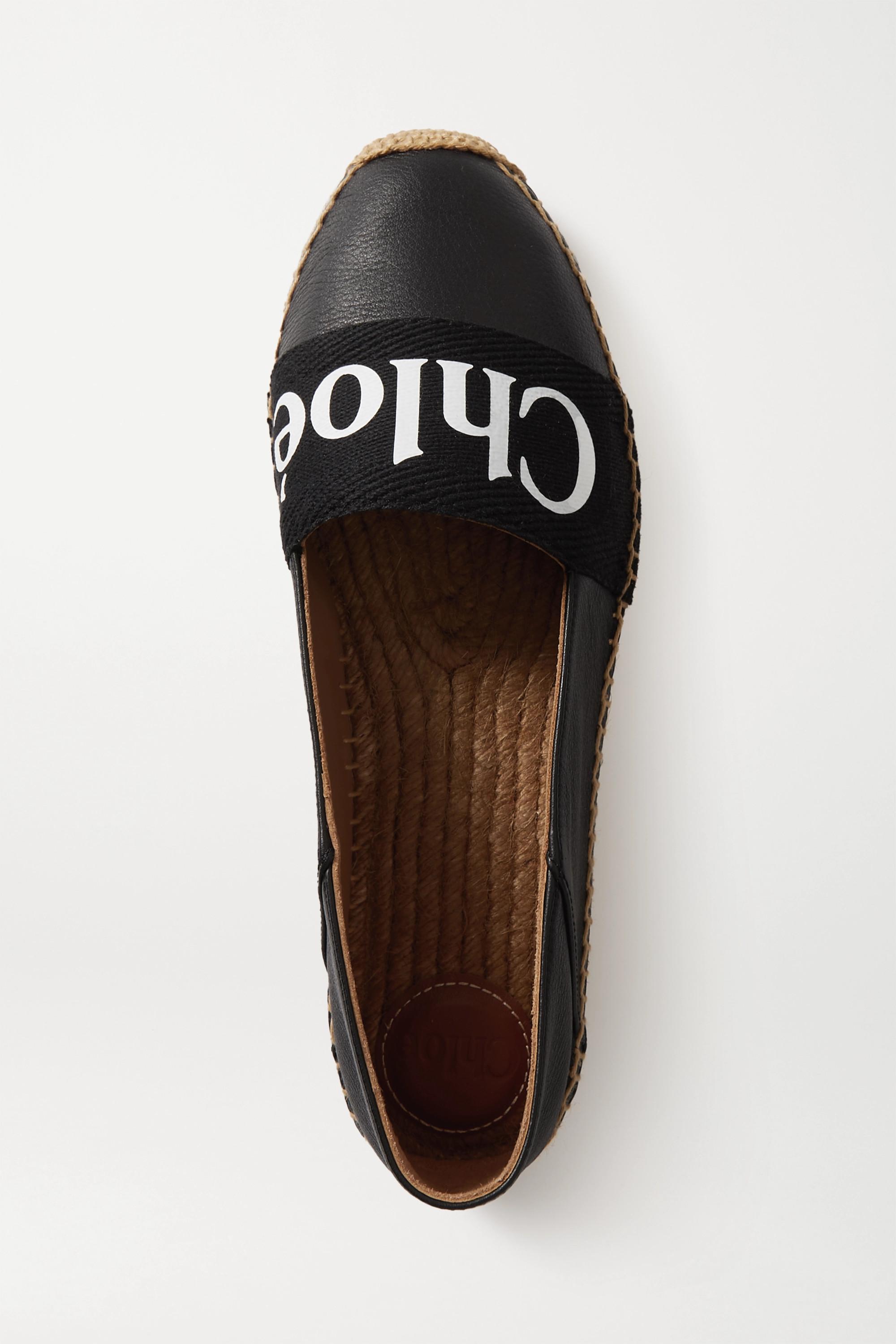 Chloé Chaussures plates façon espadrilles en cuir et en toile de coton à logo Woody