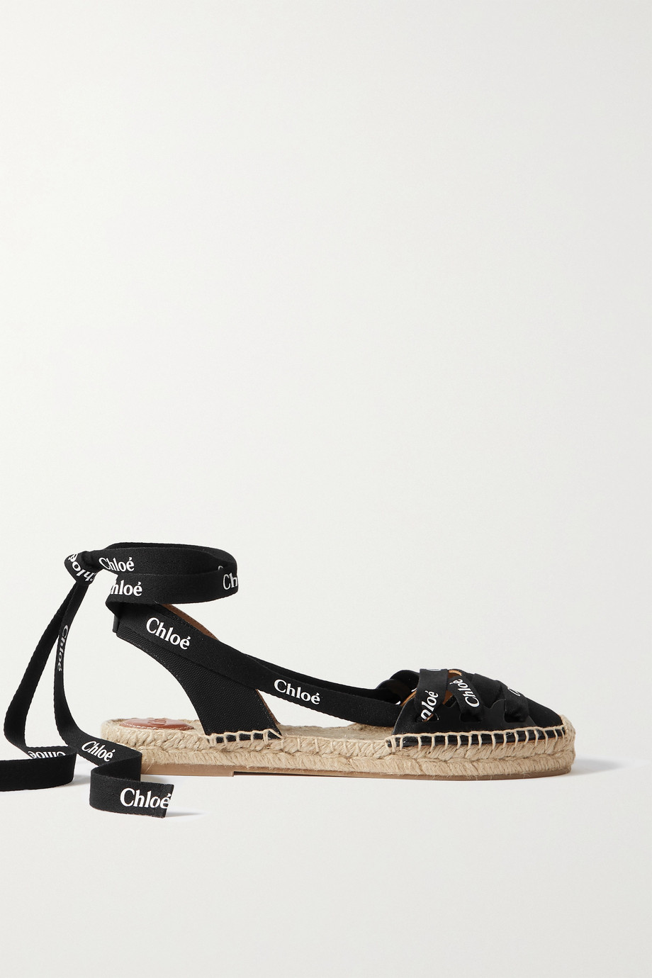 Chloé Lauren logo-print canvas and leather espadrilles