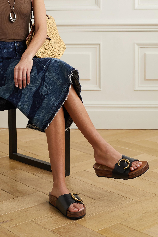 Chloé Ingrid scalloped leather platform slides