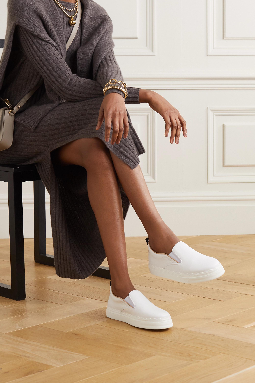 Chloé Lauren scalloped leather slip-on sneakers