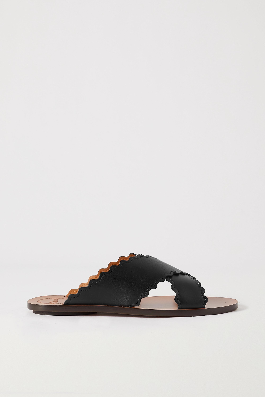 Chloé Ingrid scalloped leather slides