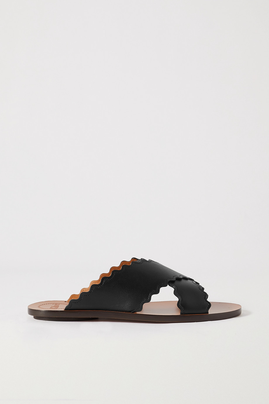 Chloé Ingrid scalloped leather slides