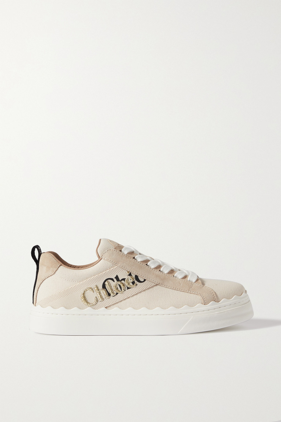 Chloé Lauren logo-detailed suede-trimmed canvas sneakers