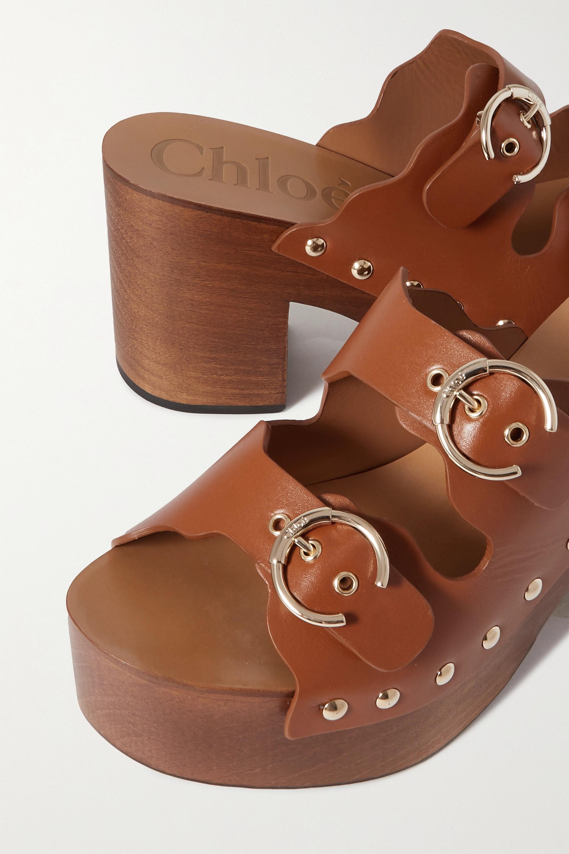 Chloé Ingrid buckled leather platform mules